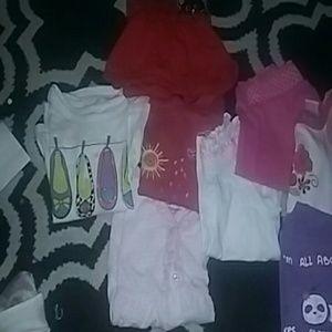 9 size 2T & 1 size 3T (sleeveless) shirts & 1 4T